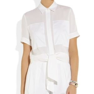 Theory Ebele Tie-Front Blouse